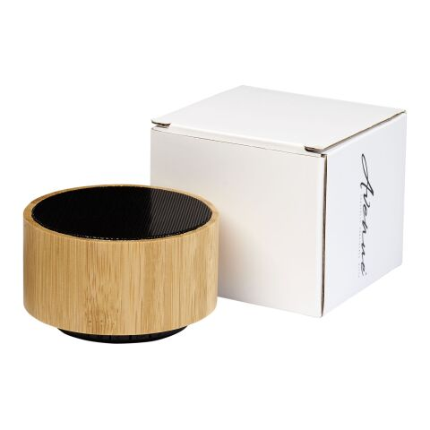Cosmos Bluetooth® Lautsprecher aus Bambus holz-schwarz   1-farbiger Tampondruck   Vorderseite   30 mm x 20 mm