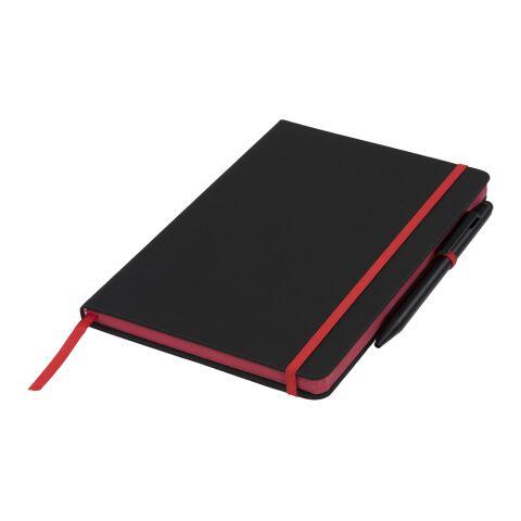 A5 schwarzes Notizbuch mit farbigem Rand schwarz-rot | ohne Werbeanbringung | Nicht verfügbar | Nicht verfügbar