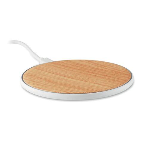 Induktive Ladestation aus ABS in Bambus-Optik weiß | ohne Werbeanbringung | Nicht verfügbar | Nicht verfügbar