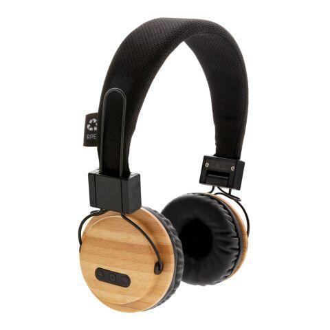 ECO Bambus kabelloser Kopfhörer braun-schwarz | 1-farbiger Tampondruck | Artikelseite rechts | 35 mm x 15 mm