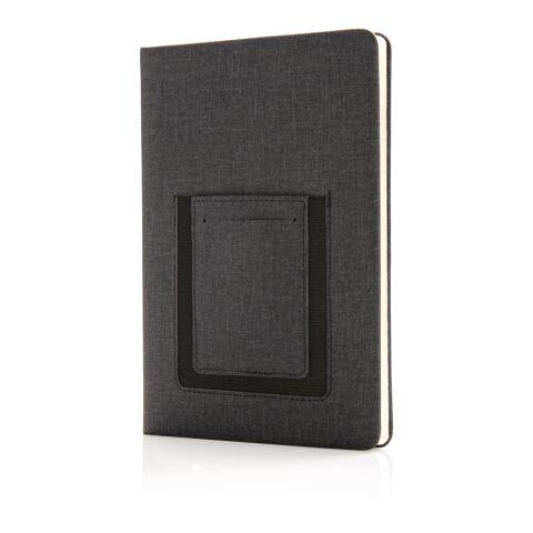 Deluxe A5 Notizbuch mit Telefontasche schwarz | ohne Werbeanbringung | Nicht verfügbar | Nicht verfügbar | Nicht verfügbar