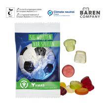 Fruchtgummi -Standardformen 15 g mit kompostierbarem Werbetütchen